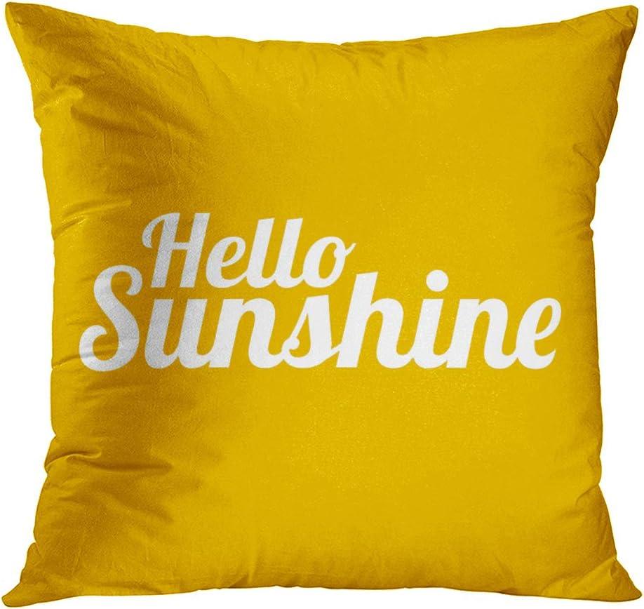 Suklly Hello Sunshine Romantic Hidden Zipper Home Sofa Decorative Throw Pillow Cover Cushion Case 18x18 Inch Square Two Sides Design Printed Pillowcase