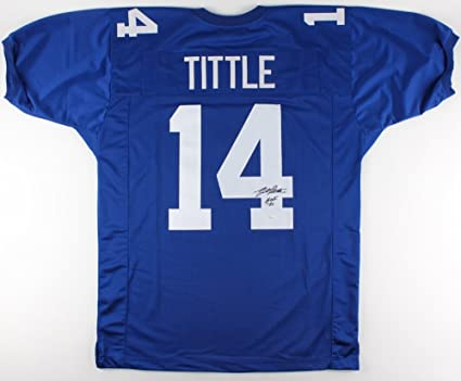 Y A Tittle 14 Signed New York Giants Jersey Inscribed Hof