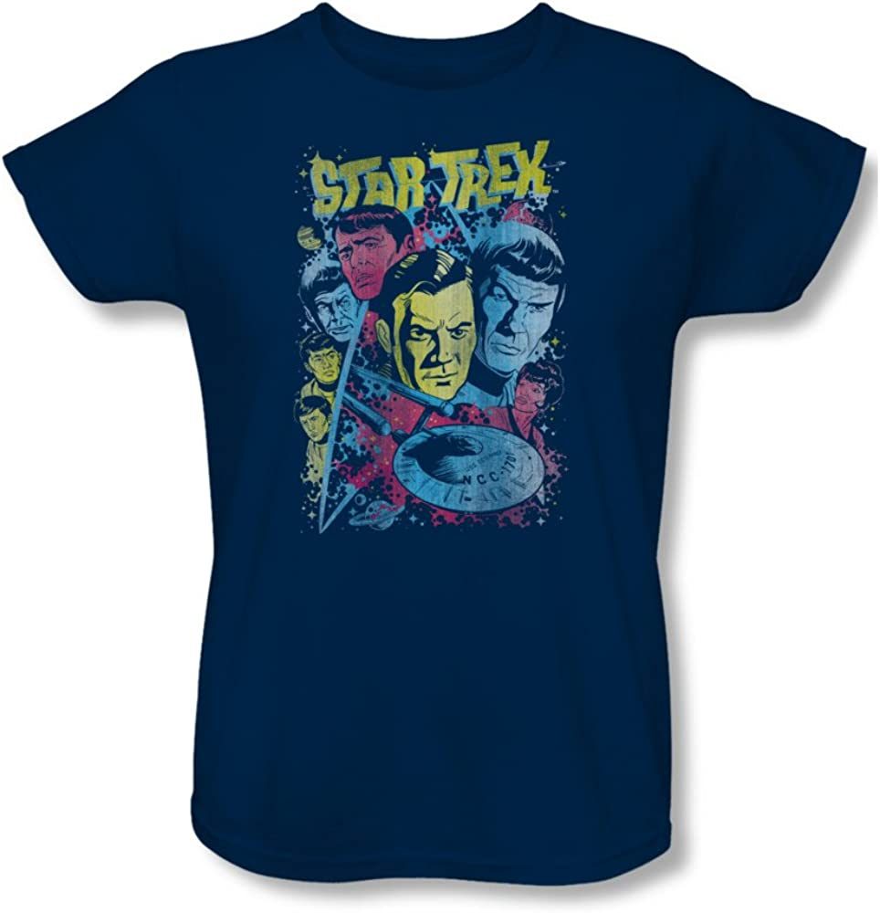 Wicked Tees Womens STAR TREK Short Sleeve CLASSIC CREW ILLUSTRATED Small T-Shirt Tee