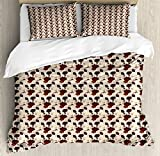 Ambesonne Floral King Size Duvet Cover Set by, Hand Drawn Hibiscus Flowers with Earthy Colors Exotic Hawaii Nature Composition, Decorative 3 Piece Bedding Set with 2 Pillow Shams, Multicolor