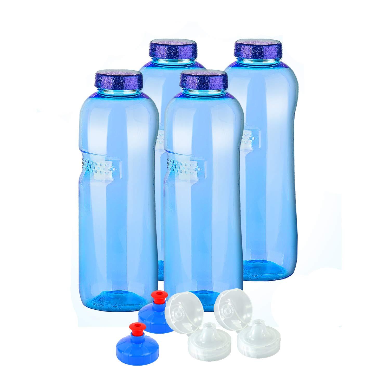 4 X Original Kavo Drink Bottiglie di acqua in Tritan 100% senza plastificanti im Spar Set: 4 X 1 litri (circa) + 4 standard Deckel + 2 Sport Deckel (Fliptop) + coperchio (Push Pull)-N Sport bottiglia di acqua di idratazione 2&