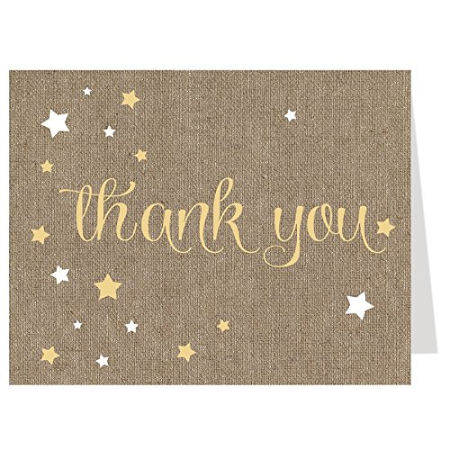 Twinkle Star Thank You Cards Over The Moon Baby Shower Star Night Star Bright Wish Falling Stars Yellow Burlap Tan Birthday Party Sprinkle Gender Neutral Unisex Gold Country Rustic (50 Count)