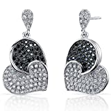 Spectacular Tilted Heart Black and White CZ Sterling Silver Rhodium Nickel Finish Dangle Earrings