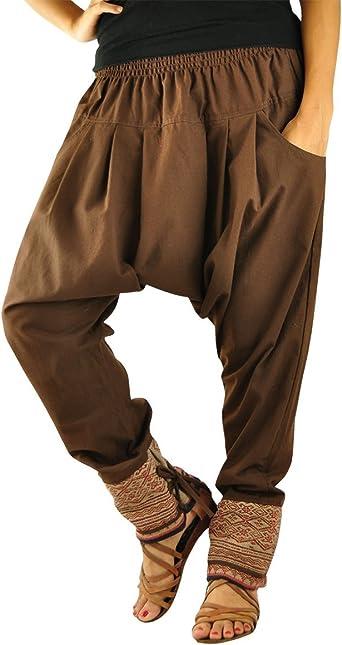 Virblatt Pantalones Cagados Mujer Como Ropa Etnica Para Una Moda Hippie En Talla Unica Pantalones Harem En Algodon Con Tejidos Tradicionales Y Comoda Cintura Elastica Verbunden Amazon Es Ropa Y Accesorios