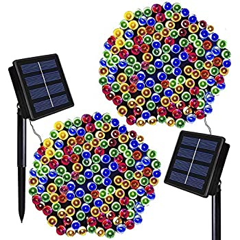 Solar Christmas Lights Solarmks 2 Pack Solar String Lights 72ft 200 LED 8 Modes Waterproof Solar Fairy String Lights for Outdoor, Gardens, Homes, Wedding, ...