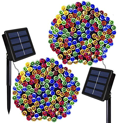 (Solar Christmas Lights Solarmks 2 Pack Solar String Lights 72ft 200 LED 8 Modes Waterproof Solar Fairy String Lights for Outdoor, Gardens, Homes, Wedding, Christmas Party,Xmas Tree)