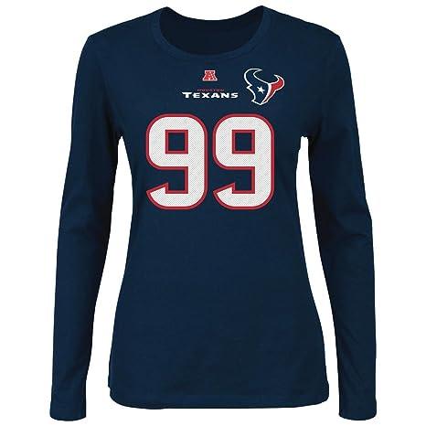 02e9f542 Majestic JJ Watt Houston Texans Women's Fair Catch Navy Jersey Name and  Number Long Sleeve T-shirt XX-Large