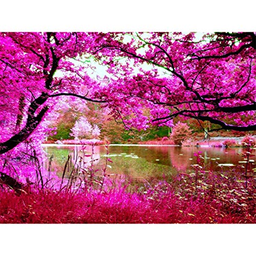 DIY 5D Diamond Painting Kit, Cherry Blossoms Full Drill Embroidery Rhinestone Cross Stitch Arts Craft Supply for Home Wall Decor Diamond Painting by Number Kits 40x30cm