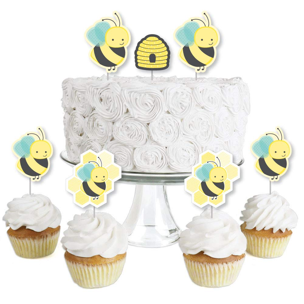 Honey Bee - Dessert Cupcake Toppers - Baby Shower or Birthday Party Clear Treat Picks - Set of 24