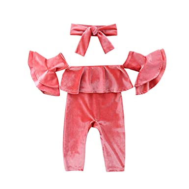 e17dccde8f38 2PCS Baby Girl Velvet Outfits Set Off Shoulder Ruffle Princess Sleeve Romper  Jumpsuit Coverall + Bowknot