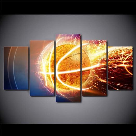 UDPBH 5 Paneles HD Impreso Lienzo Arte Fuego Baloncesto Pintura D ...
