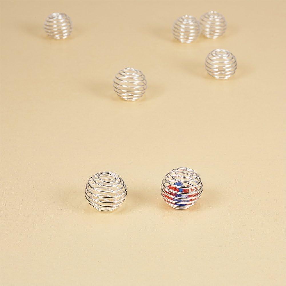PandaHall Elite Runde Spirale Perlen K/äfige Anh/änger Funde Edelstahl /Überzogen Edelstahl Farbe f/ür Schmuck Herstellung 34x19mm Loch 4.5mm ca 15 STK