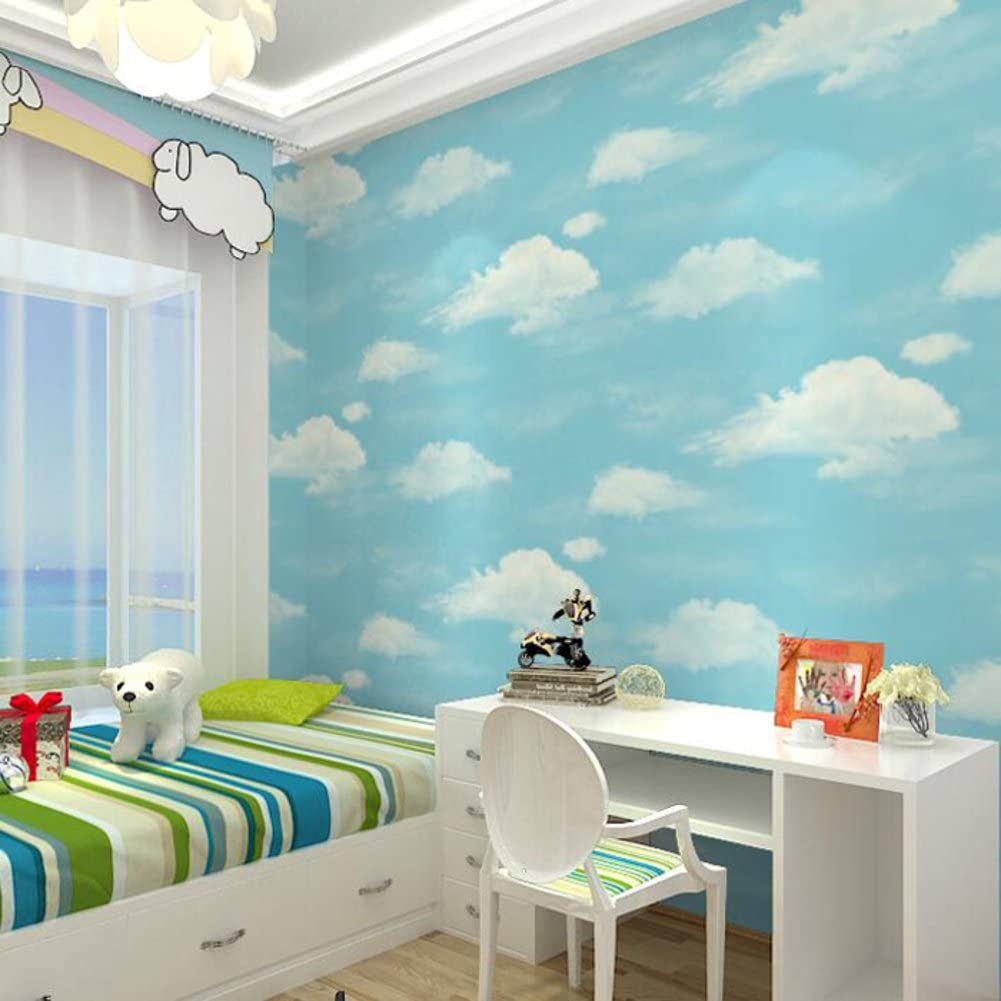 blue sky and white clouds wallpaper/Sweet kids room wallpaper/boys