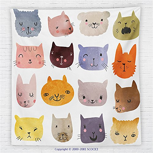 59 x 59 Inches Cat Fleece Throw Blanket Decor Cute Watercolor Effect Cat Heads in Colorful Humor Fun Purring Meow Animal Kids Artsy Print Blanket (Checkerboard Cat)