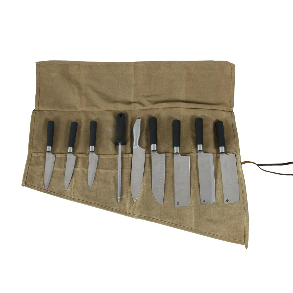 Waterproof Waxed Canvas Chef's Knife Roll Pouch Storage Bag With 14 Pockets Multi-purpose Rollup Organizer Heavy Duty Knife Roll Pouch For Barbecuing Camping or Handymen(HSZ-15-C)