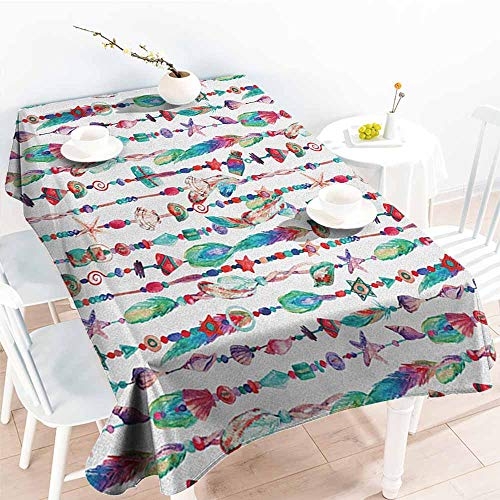 Willsd Anti-Fading Tablecloths,Feather Marine Accessory Chains Pendants Mineral Stones Shells Beads Watercolor Style Art,Table Cover for Kitchen Dinning Tabletop Decoratio,W60x120L