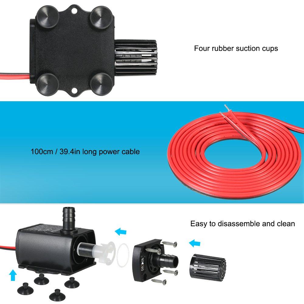 Amazon.com: Decdeal Submersible Water Pump DC 12V 5W Ultra-quiet ...