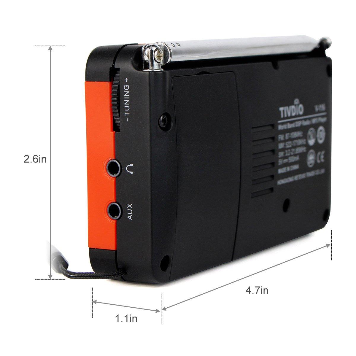 Tivdio V 116 Portable Shortwave Radio With Am Fm 25 Metres Range Short Wave Transmitter Transistor Support Micro Sd Card Aux Input Mp3 Player Speaker Alarm Clock Sleep Timerblack And