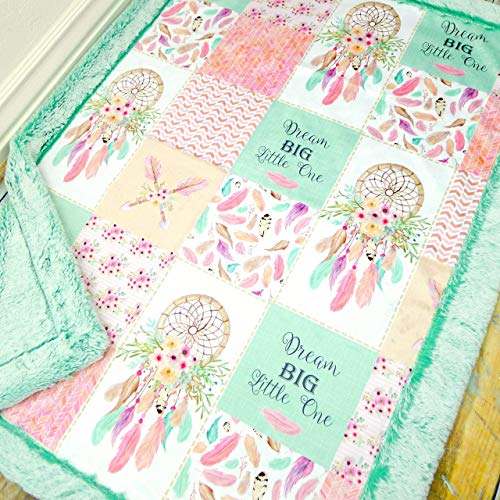 Boho Baby Blanket with Dream Catcher - Desinger Minky Baby Blanket - Girl Baby Blanket
