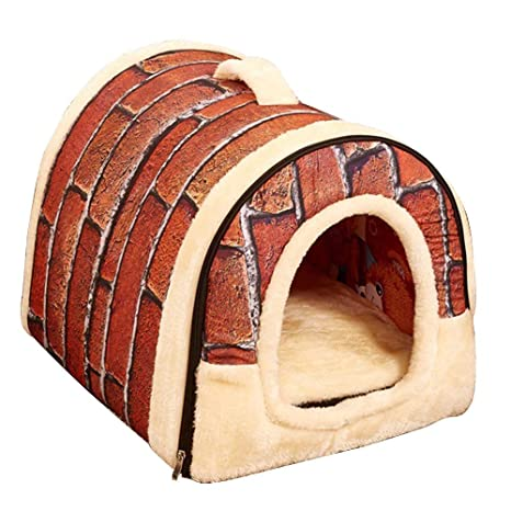 Skyoo Invierno Cálido Plegable Antideslizante Exterior Mascota caseta Acogedor Perro casa Gato sofá Cama Cachorro