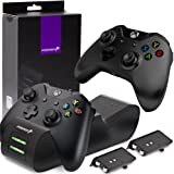 Fosmon Xbox One/One X/One S Dual PRO Controller Charger, [Dual Slot] High Speed Docking Charging Station with 2 x 1000mAh Rechargeable Battery Packs - Black