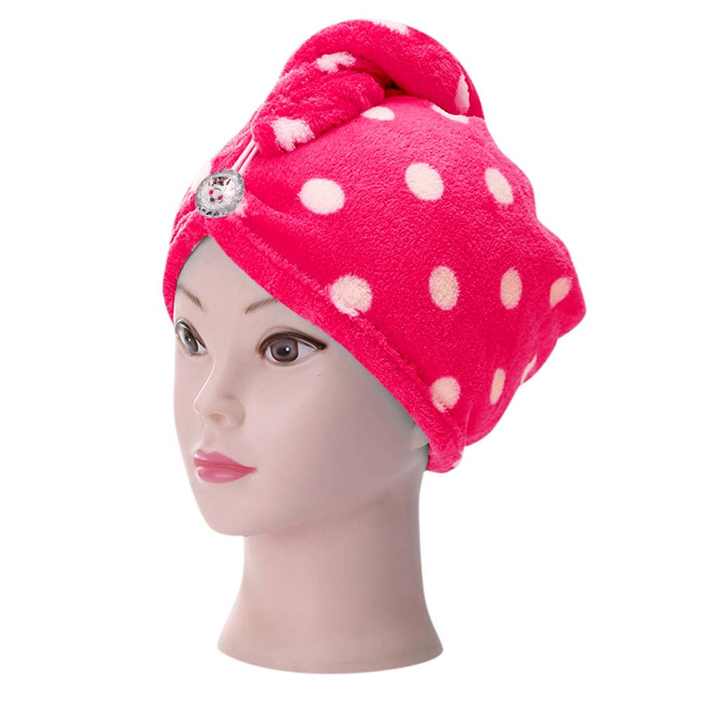 Gotian Microfiber Bathing Dry Hair Cap Quick Drying Wrapped Towel Adult Shower Bathing Head Cap (Hot Pink)