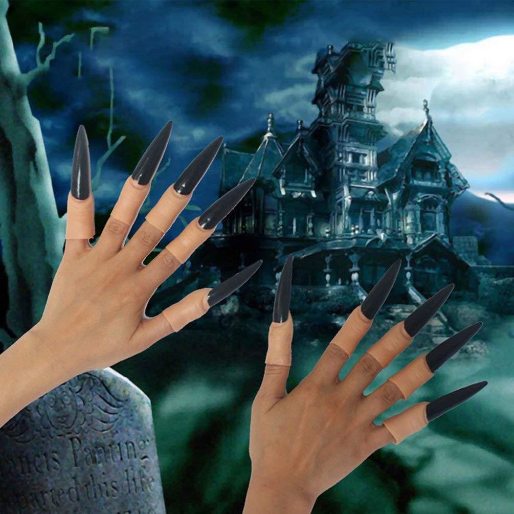 TAOHOU 10 pcs/Set Halloween Bruja Diablo Luz Nocturna Uña Luminosa ...