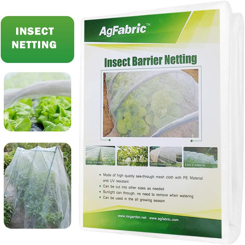 Agfabric Standard Insect Screen & Garden Netting Against Bugs, Birds & Squirrels of Mesh Netting, White (16'x30')
