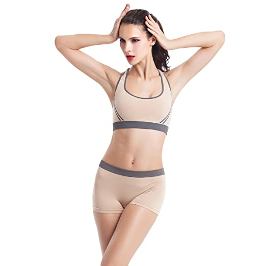 952b611032 Image Unavailable. Image not available for. Color  Evaliana Women Athletic  Workout Tracksuit Fitness Gym Yoga Sports Bra Shorts Set