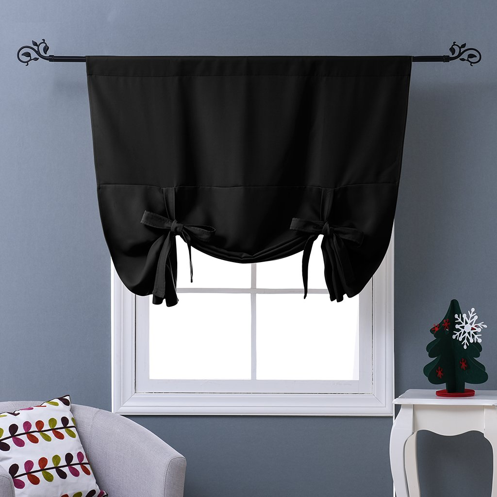 NICETOWN Blackout Curtain for Bathroom Windows - Adjustable Tie Up Shade Balloon Valance Blind (Rod Pocket Panel, 46'' W x 63'' L)
