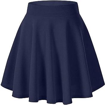 TUDUZ Mujeres Falda Acampanada Versátil Básica Enaguas Mini Falda ...