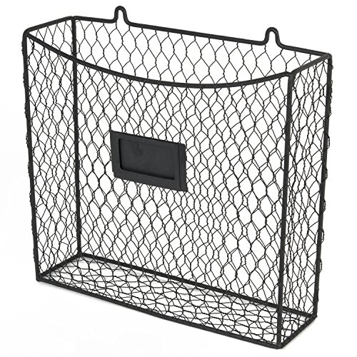 WALL35 Country Style Chicken Wire Basket Kitchen Utensil Organizer Wall Mounted Storage Drawer Counter Top Organization (Black)