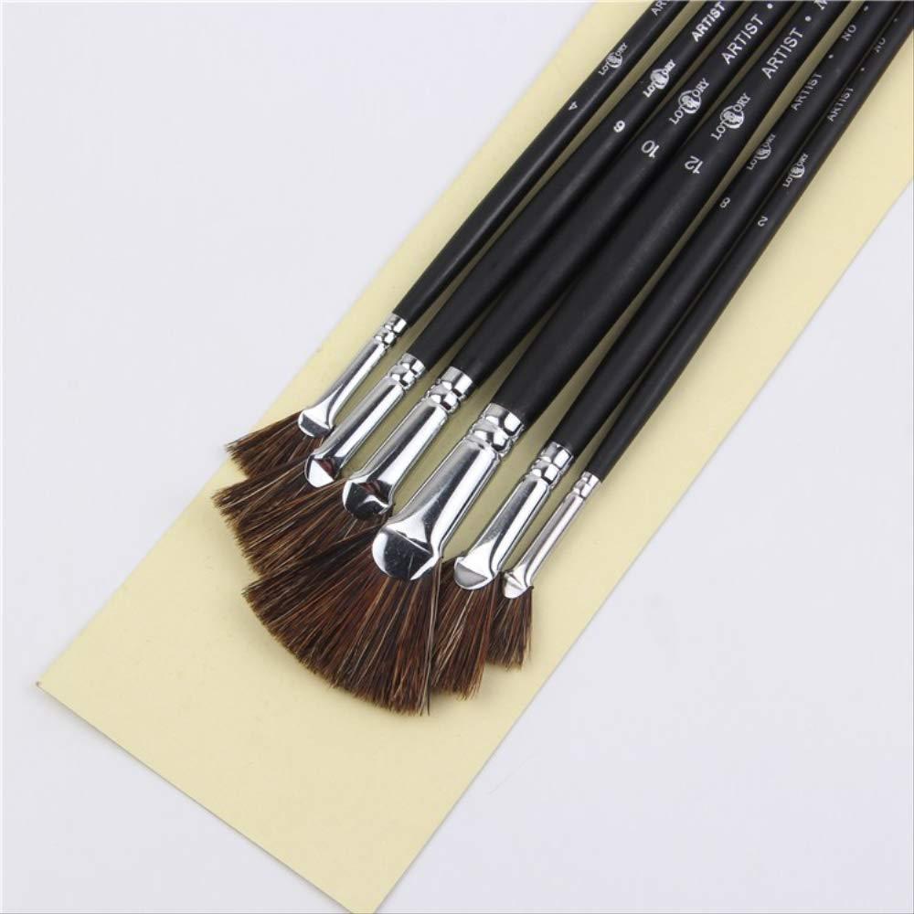 papeler/ía Juego de 6 pinceles de cerdas de jabal/í salvaje suministros de arte en forma de abanico pincel para estudiantes pintura al /óleo