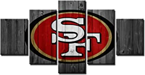 San Francisco49ers Poster Wall Decor for Home Painting 5 Piece Canvas Prints Wall Art Picture Modern Decoration for Bedroom Poster with Frame Ready to Hang(60''Wx32''H)