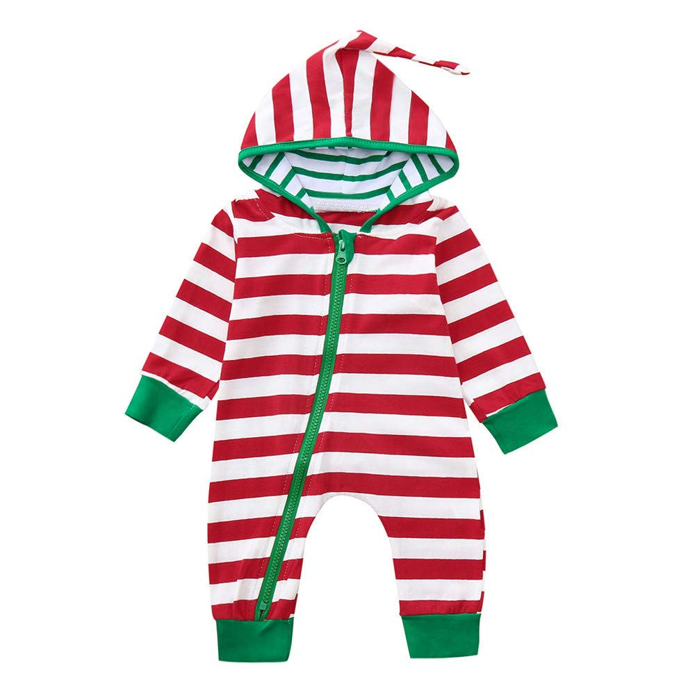 Iuhan  Baby Christmas Pajamas for 0-24Month Kids Striped Hooded Romper Jumpsuit Outfit (6-12 Months, Red)