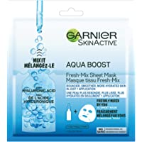 Garnier Skinactive Moisture Bomb Aqua Boost Fresh-Mix Sheet Mask With Hyaluronic Acid, for All Skin Types, 1 Count