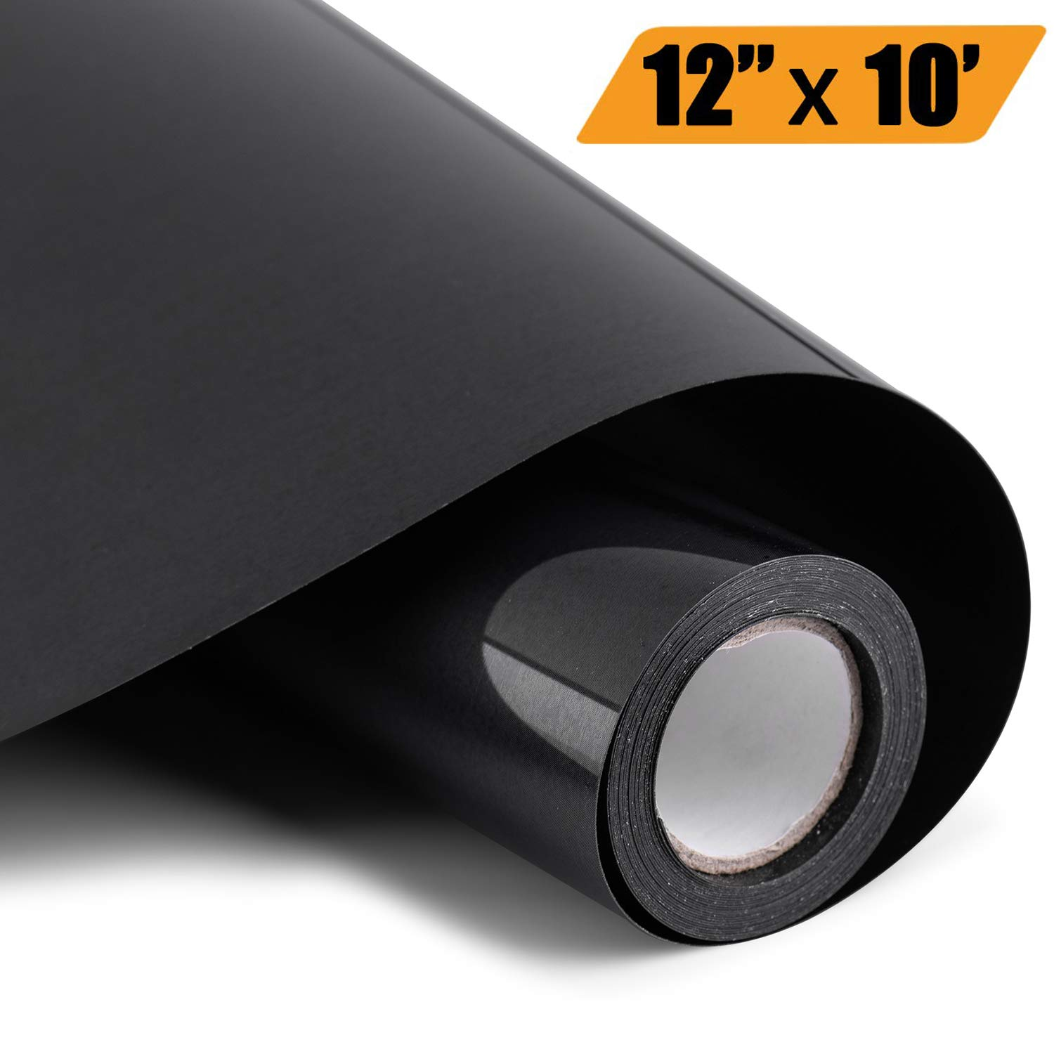 Heat Transfer Vinyl 12'' x 10' Feet Rolls, PU HTV Bundle by Somolux for Cricut and Silhouette Cameo Easy to Cut & Weed, DIY Heat Press Design for T-Shirt, Clothes, Hats and Other Textiles (Black) by HoneyTolly