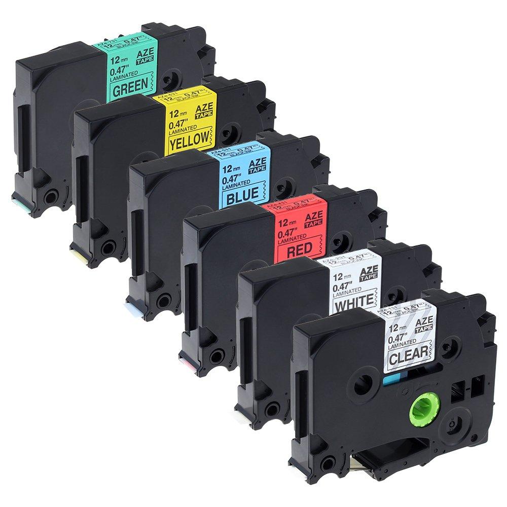 6x etichettatura cassetta nastro compatibile con Brother tze-131/tze-231/tze-431/tze-531/tze-631/tze-731/12mm x 8m/6multi-colori: nero su chiaro/bianco/rosso/blu/giallo/verde per Brother P-Touch pt-1000pt-1010r pt-2030vp pt-2430pc pt-d600vp Airmall