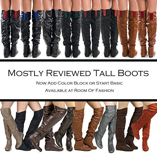 RF RAUM DER MODE Trend-Hi Over-the-Knee Oberschenkel hohe flache Slouchy Welle Low Heel Stiefel Taupe Pu
