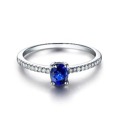 Loumve Damen Ringe Silber 925 Ehering Verlobungsring 4x6mm Oval Blue
