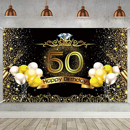 Trgowaul 50th Birthday Party Decoration, Extra Large Black Gold Sign Poster 50th Birthday Party Supplies, 50th Anniversary Backdrop Banner Photo Booth Backdrop Background Banner, 70.8 x 43.3 Inch