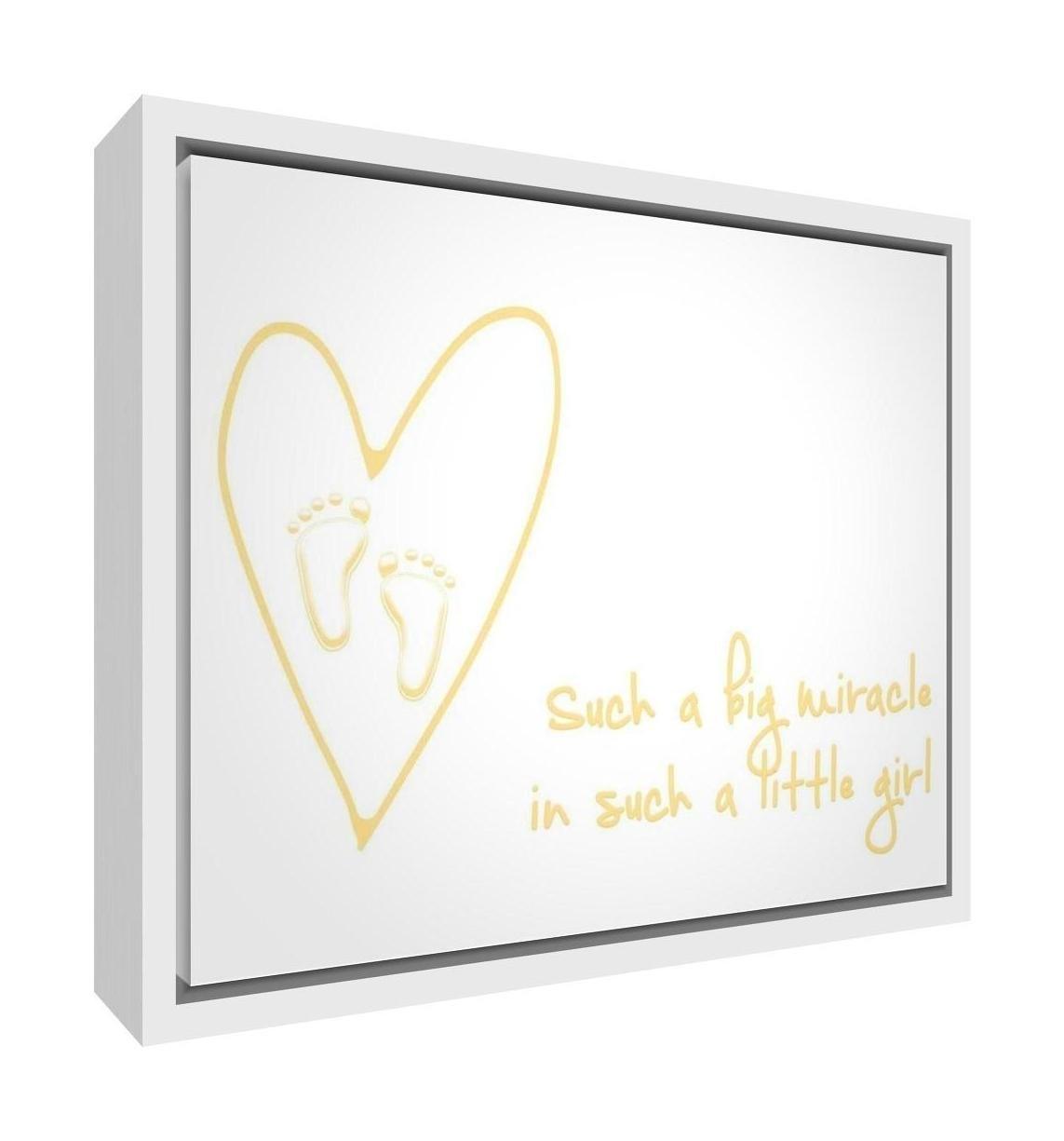 Feel Good Art eco-printed y enmarcadas lona de guarder/ía con s/ólido Marco de madera blanco 64/x 44/x 3/cm, grande, Soft Pink, como un Big milagro en una de esas Little Girl
