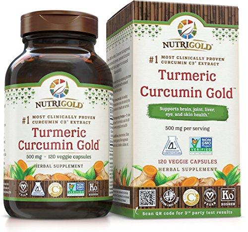 NutriGold Turmeric Curcumin Gold Features C3 Complex w BioPerine , 500 mg, 120 Vegan Capsules