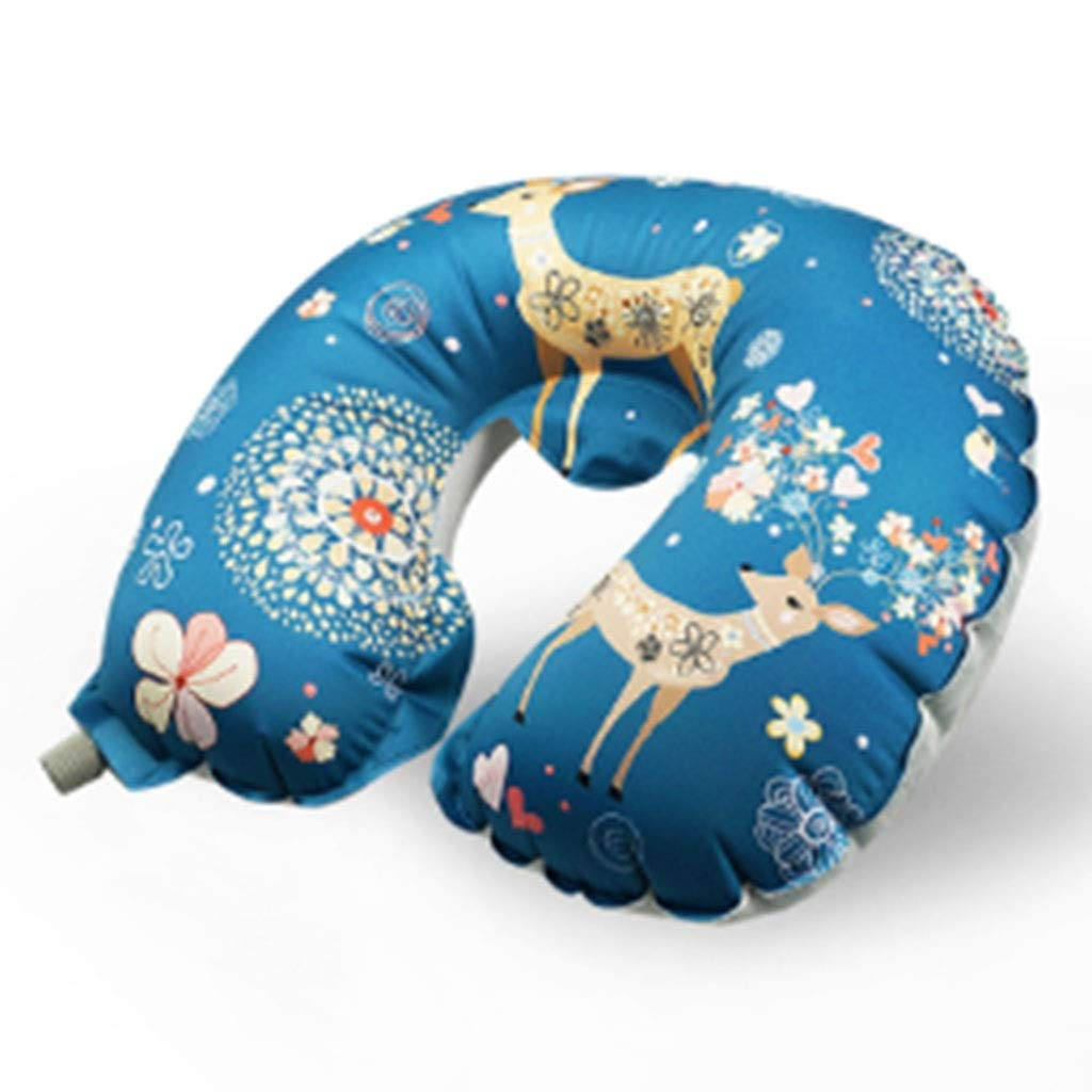 Inflatable pillow Printed, Travel by Plane, Office Portable Nap U-Shaped Pillow