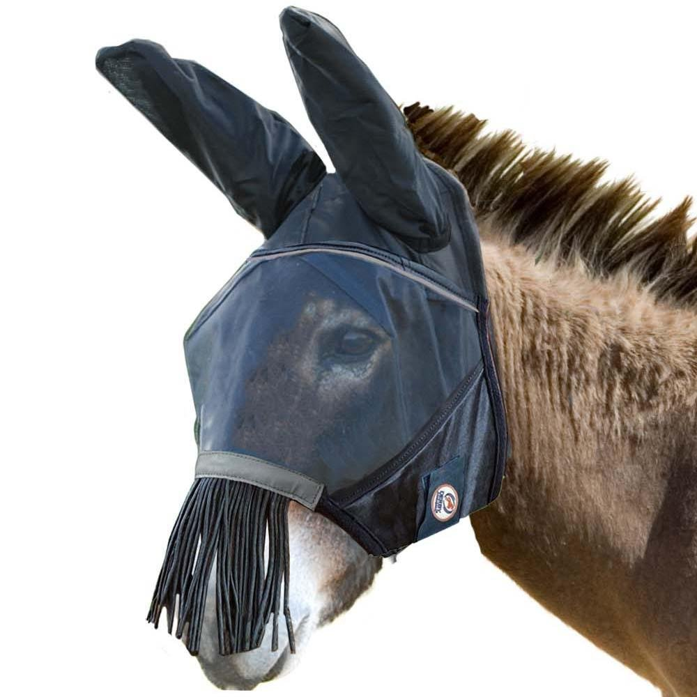 Derby Reflective Trim Mesh Mule and Donkey Fly Mask with Ears & Nose Fringes - One Year Warranty - Black by Derby Originals