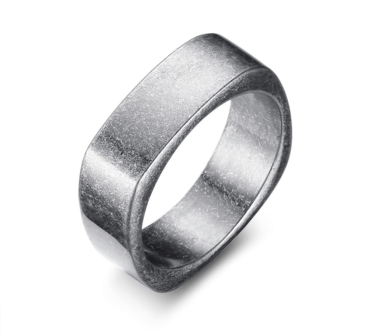 VNOX 7MM Stainless Steel Plain Square ShapeEngagement Wedding Ring for Men,Black,Size 9-12