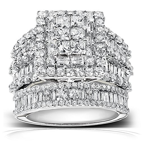 diamond engagement ring and wedding band set 2 45 carats ctw in 14k white gold - Engagement Rings And Wedding Band Sets
