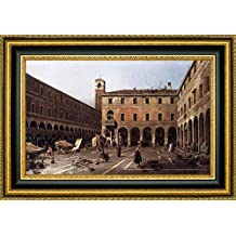 """The Campo di Rialto by Canaletto - 10"""" x 15"""" Framed Giclee Canvas Art Print - Ready to Hang"""