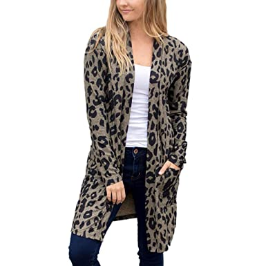 07fd59eab9b72 ZOMUSAR Womens Solid  Leopard Open Front Long Cardigan Sweater Long Sleeve Plus  Size Loose