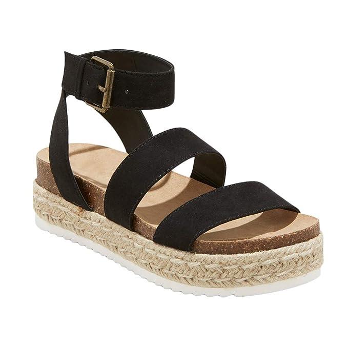 3f3d5d95d95 Amazon.com  Ermonn Womens Espadrilles Platform Sandals Strappy Open Toe  Ankle Buckle Cork Wedge Flat Shoes  Clothing